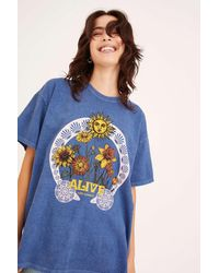 Urban Outfitters Alive With Passion Overdyed T-shirt Dress - Blue