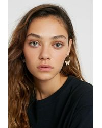 Urban Outfitters Diamante Butterfly Drop Hoop Earrings - Metallic