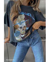 Urban Outfitters Metallica Harvester Of Sorrow Tour Glitter Tee - Blue