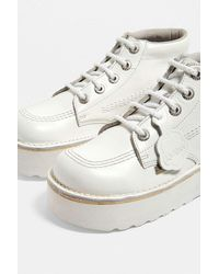 Hi Stack White Leather Boots