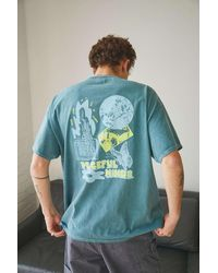 Urban Outfitters Uo Teal Puff-print Peaceful Minds Tee - Blue