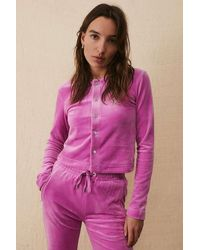Juicy Couture JuicyCouture UO ExclusiveVelours-Cardigan in Rosé mit Strass - Pink