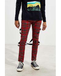 Tripp Nyc Chaos Plaid Zip Chain Pant - Red
