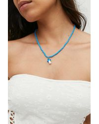 Urban Outfitters Mushroom Beaded Necklace - Blue