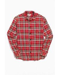Standard Cloth Vintage Acid Wash Flannel Button-down Shirt - Red