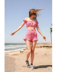 Urban Outfitters Uo Plaid High-rise Ruffle Short - Red