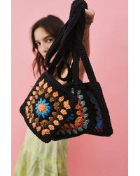 Urban Outfitters Uo Square Crochet Crossbody Bag - Black