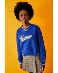 Tommy Hilfiger Kurzes Retro-Sweatshirt mit V-Ausschnitt und Logo - Blau