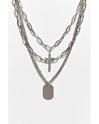Urban Outfitters Uo Cross Tag Layering Necklace - Metallic