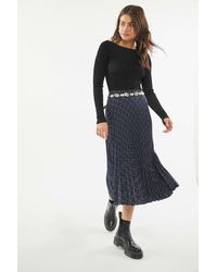 Urban Outfitters Uo Delphina Plaid Pleated Midi Skirt - Multicolor