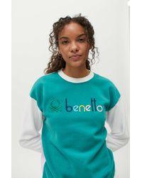 Benetton Colorblock Crew Neck Sweatshirt - Green