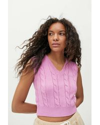 iets frans... Cable Knit Cropped Sweater Vest - Pink