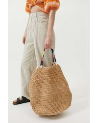 Urban Outfitters Uo Raffia Extra-large Tote Bag - Brown