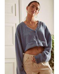 Reebok Blue Classics Wide Knit Cardigan