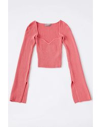 Urban Outfitters Uo Juliet Portrait Neck Top - Red