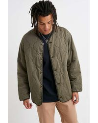 Urban Outfitters Uo Khaki Quilted Liner Jacket - Multicolour