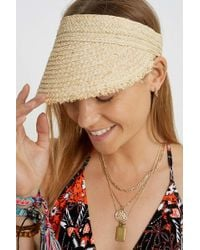 Urban Outfitters Uo Straw Visor Cap - Womens All - Natural