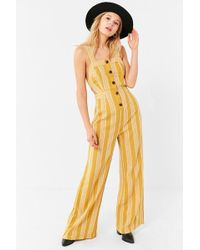 Urban Outfitters - Uo Ameliana Straight-neck Button-down Jumpsuit - Lyst