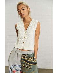 Urban Outfitters Uo Cable Knit Sleeveless Cardigan - Natural