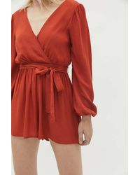 Urban Outfitters Uo Mona Surplice Long Sleeve Romper - Red