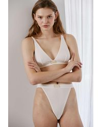 Out From Under Ribbed Cotton High-cut Thong - White