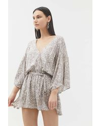 Dress Forum Animal Print Belted Romper - Gray