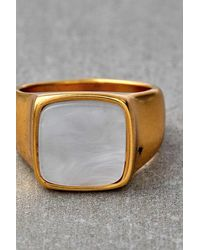 Urban Outfitters Plated Square Stone Ring - Metallic