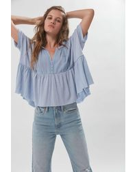 Urban Outfitters Uo Jasmine Oversized Babydoll Blouse - Blue