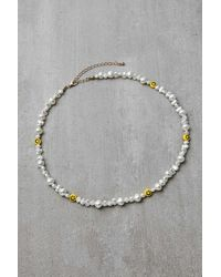 Urban Outfitters Smiling Face Bead & Pearl Choker Necklace - Multicolour