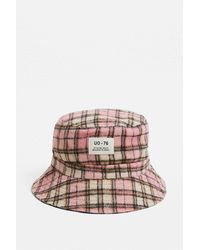 Urban Outfitters Uo Brushed Pink Check Bucket Hat