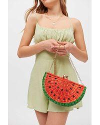 Serpui Watermelon Wicker Clutch Bag - Red