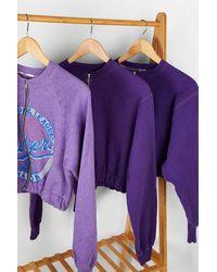Urban Renewal Remade From Vintage Violet Zip-up Bubble Sweatshirt - Purple
