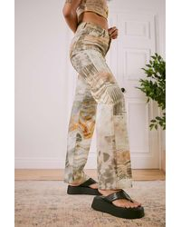 Jaded London Mix Marble Print Slouchy Boyfriend Jeans - Multicolour