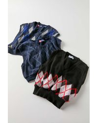 Urban Renewal Recycled Cropped Argyle Sweater Vest - Multicolour
