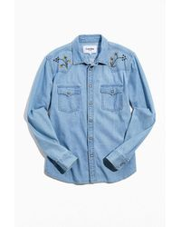 Corridor NYC Embroidered Western Shirt - Blue
