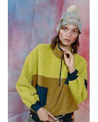 Urban Outfitters Uo Carmen Sherpa Triple Pocket Half-zip Sweatshirt - Yellow
