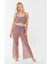 Out From Under Striped Sheer Wide Leg Pant - Red