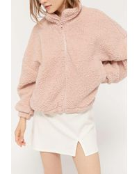 Urban Outfitters Uo Willow Fuzzy Drawstring Teddy Jacket - Multicolour