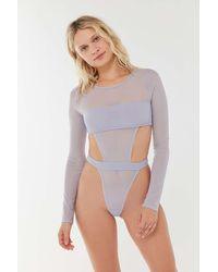 Out From Under Scandalous Mesh Long Sleeve Bodysuit - Multicolor