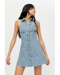 Urban Outfitters Uo Tia Button-front Mini Dress - Blue