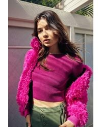 Urban Outfitters Uo Shaggy Zip-front Faux Fur Bomber Jacket - Pink