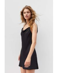 Urban Outfitters Uo Mallory Cowl Neck Slip Dress - Black