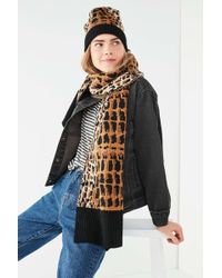 Urban Outfitters - Graphic Leopard Intarsia Scarf - Lyst
