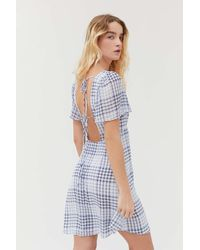 Urban Outfitters Uo Spring Shower Chiffon Tie-back Mini Dress - Blue