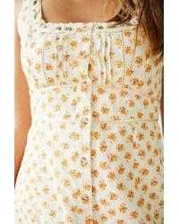 Urban Outfitters Uo Jessie Orange Floral Print Mini Sun Dress