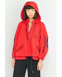 Angel Chen Embroidered Red Cropped Windbreaker Jacket