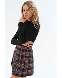 Urban Outfitters Uo Mary Plaid Wrap Pleated Mini Skirt - Black