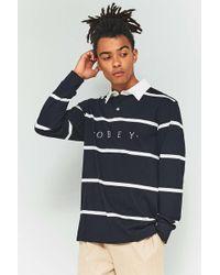 Obey - Bridgewater Black Long-sleeve Polo Shirt - Lyst