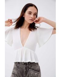 Urban Outfitters Uo Rori Ribbed Plunging Babydoll Top - White