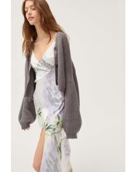 Truly Madly Deeply Piper Slouchy Balloon Sleeve Cardigan - Gray
